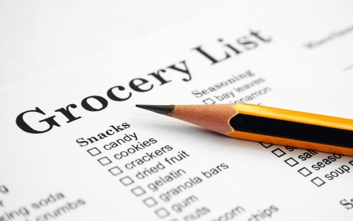 Picture of a grocery list