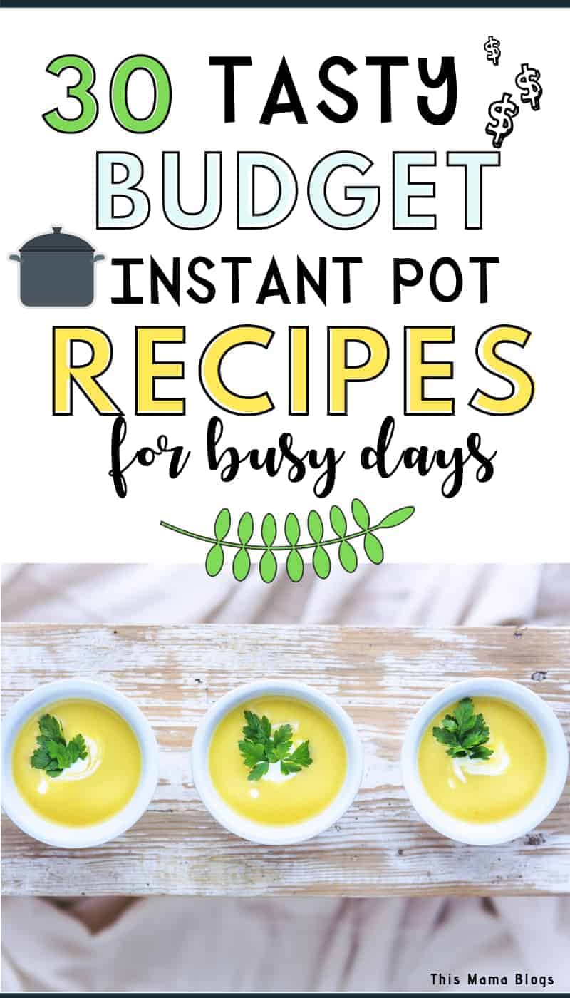 Looking for budget Instant Pot recipes to help you save money and time? Here's a list of 30 ridiculously easy cheap and tasty Instant Pot recipes to try! This list contains healthy vegetarian recipes; delicious pasta and chicken recipes as well as a selection of hearty soups your family will surely love! #frugalfood #budgetmealsforlargefamilies #mealplanningideas