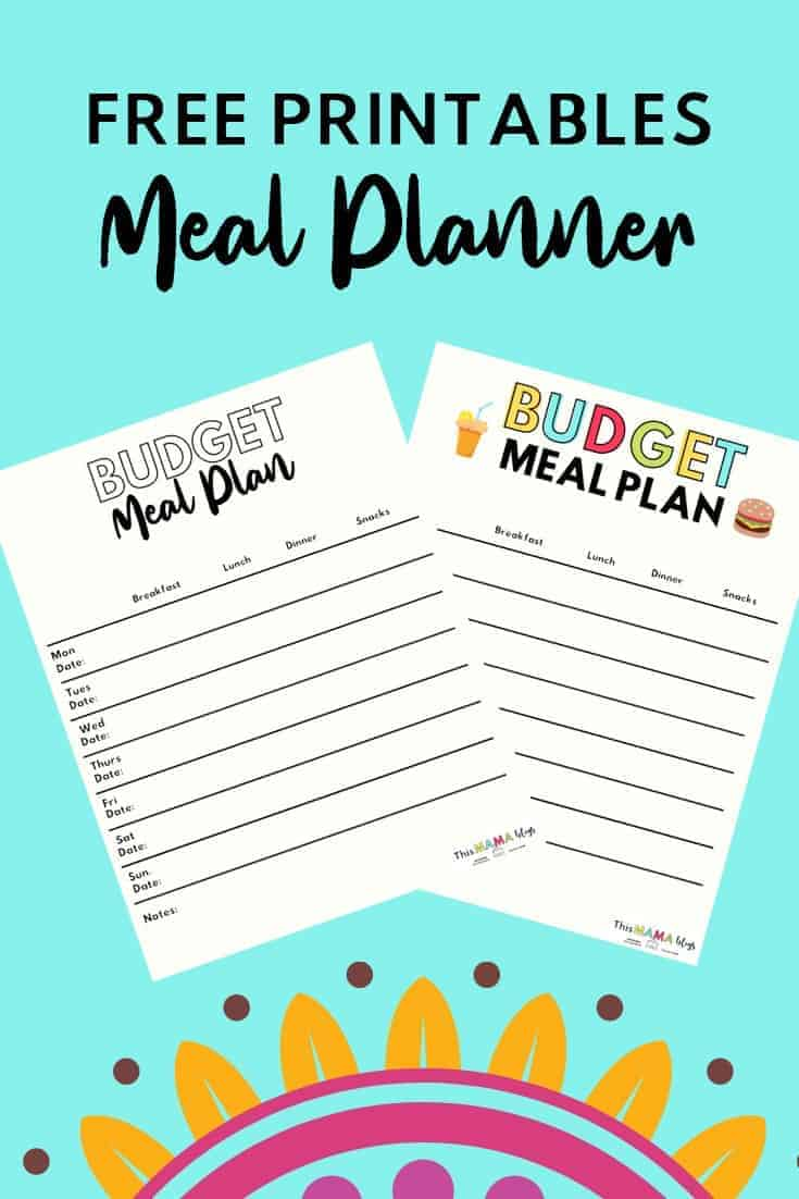 Free Meal Planner Templates to help you create a budget meal plan every week!