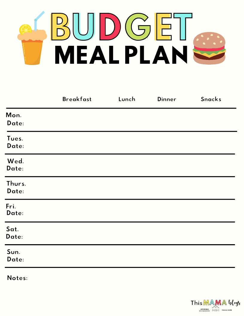 Budget Meal Plan Template
