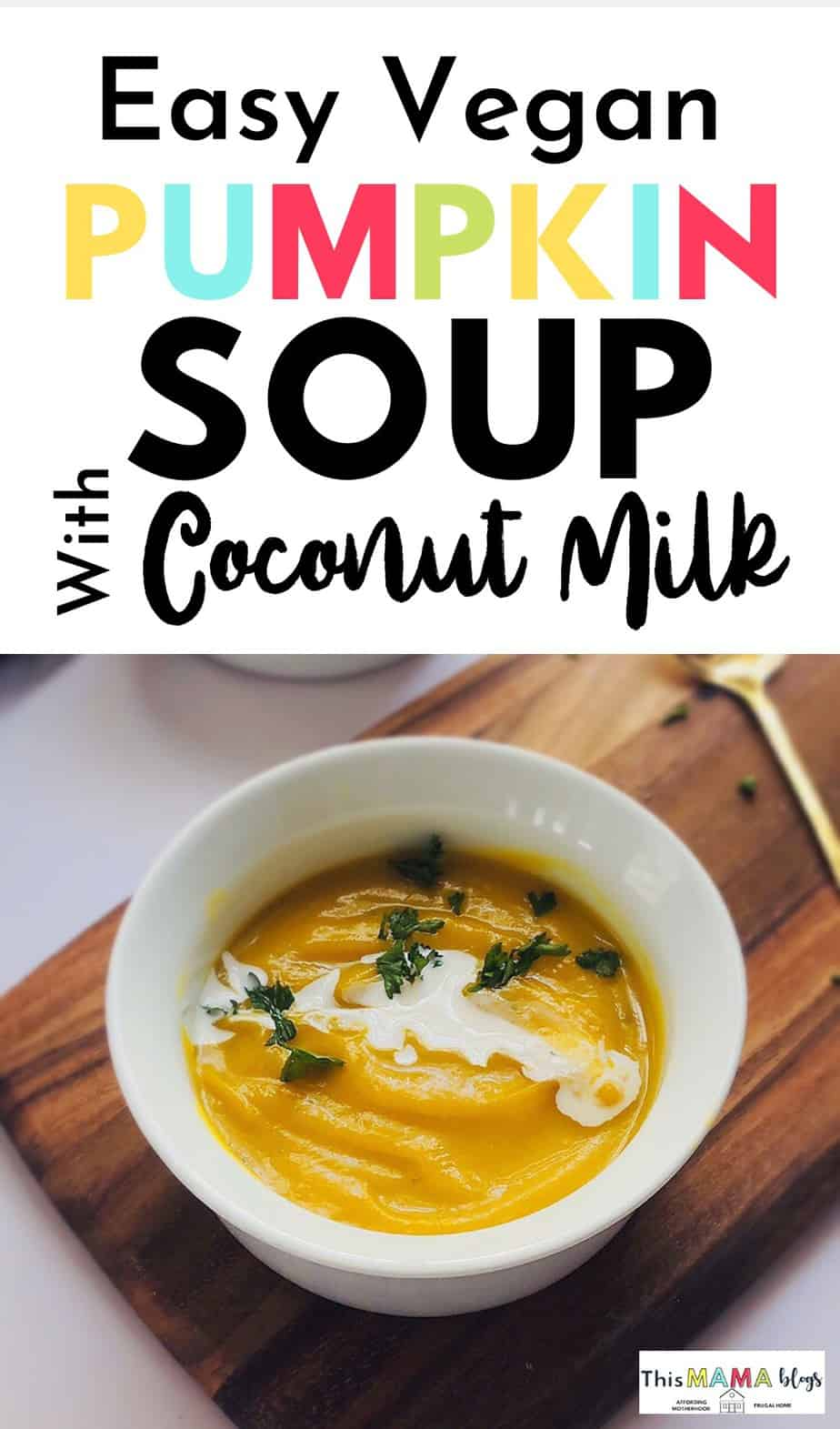 This vegan coconut ginger pumpkin soup is the ultimate warmer for when the weather starts cooling down. It's creamy and silky with a bit of spice, and features a slightly sweet and nutty flavor that even kids will love! Costing only $0.80 or less per serving, this soup makes a great addition to your budget vegan recipes for fall and winter!