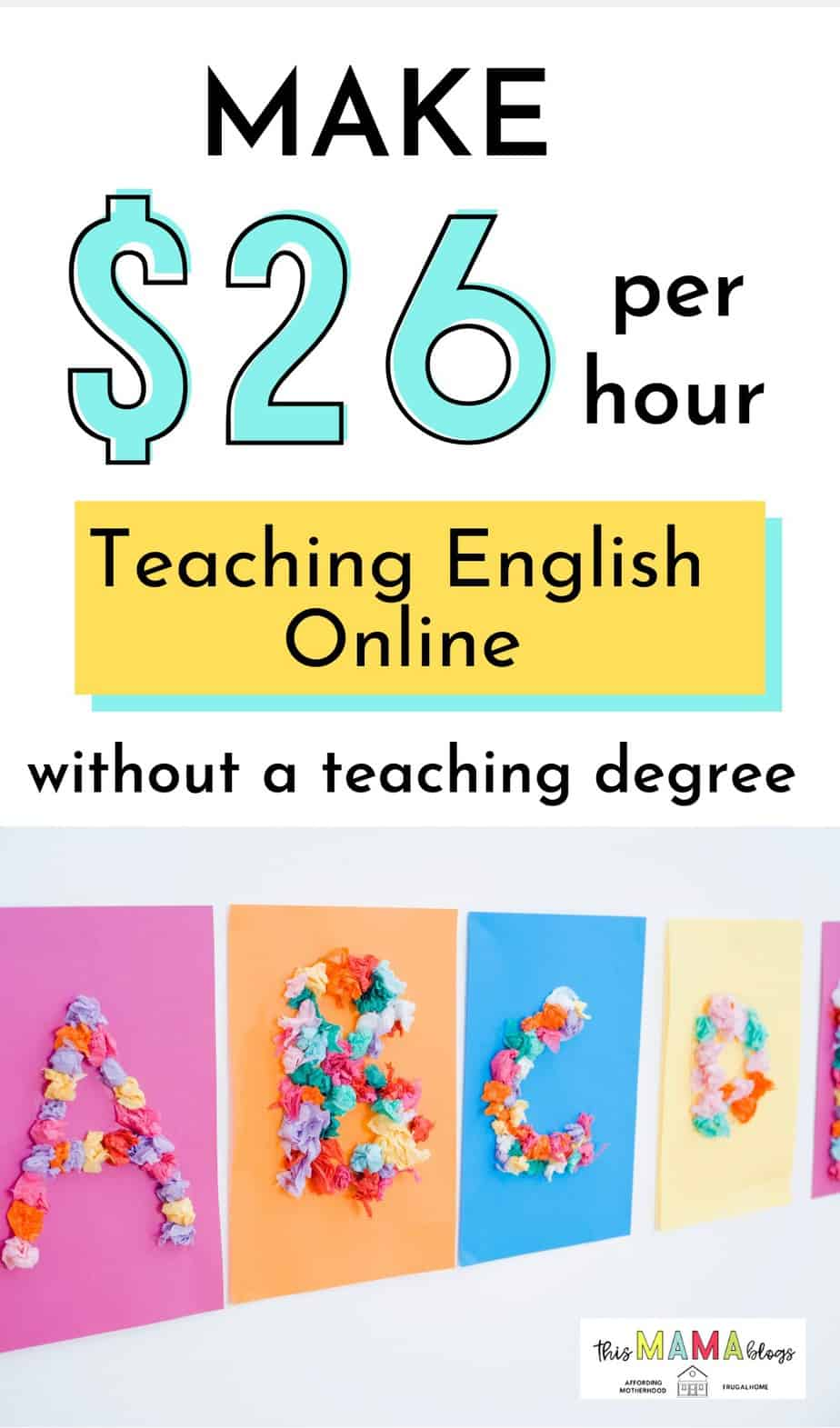 Teaching English online is a great side hustle for moms. If you are looking for a work at home job to make money from home while looking after your kids, working as an English teacher is one of the best options for you that can potentially earn you a full-time income. Read more via This Mama Blogs on how to get started! #makemoneyfromhome #makemoneyonline #sidehustlesathome