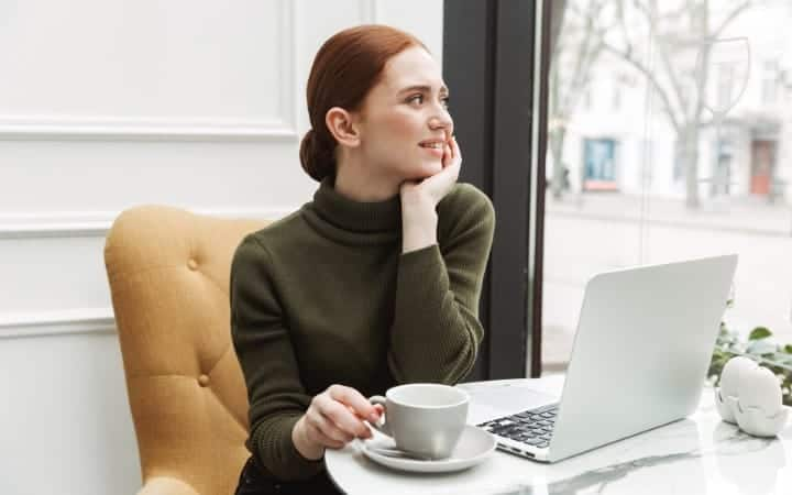 Lady working remotely from her laptop