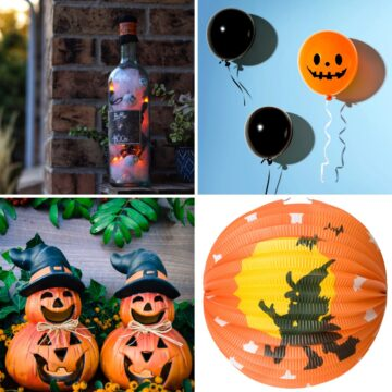 Cheap Halloween decors such as ghost balloons, Halloween paper lantern, pumpkin outdoor decor and Halloween bottle