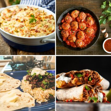 Images of cheapest meals for families including meat balls, burritos, rice and beans and baked pasta