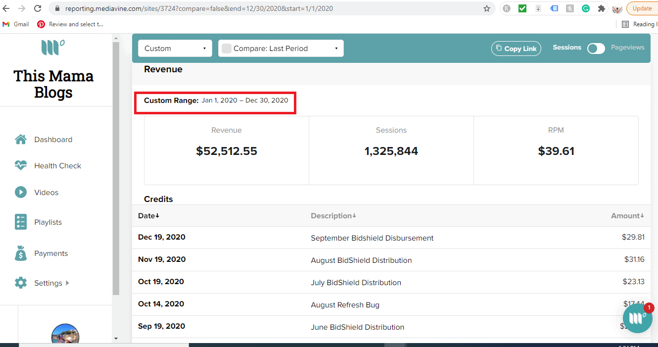 Screenshot of blogging income from Pinterest