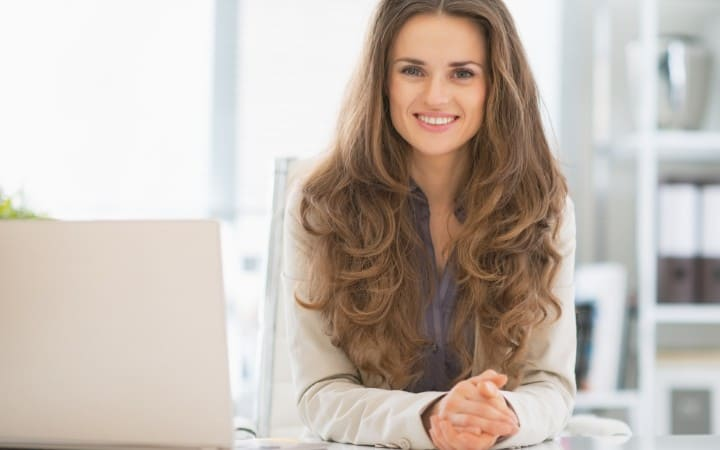 Woman working from her office