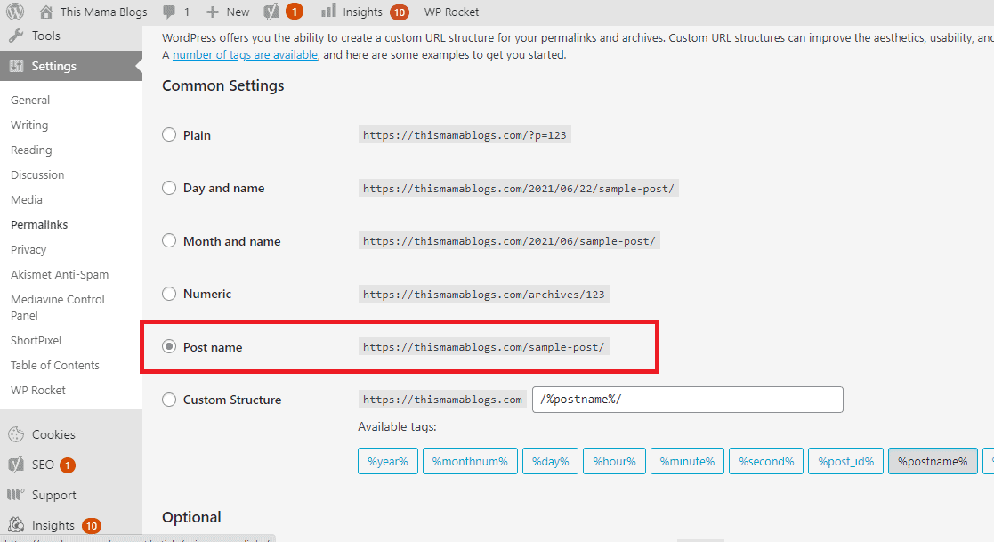 How to change your permalink structure to Post Name