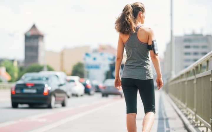 Lady walking to get fit