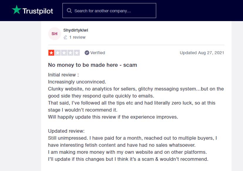 Negative Feetfinder review on Trustpilot